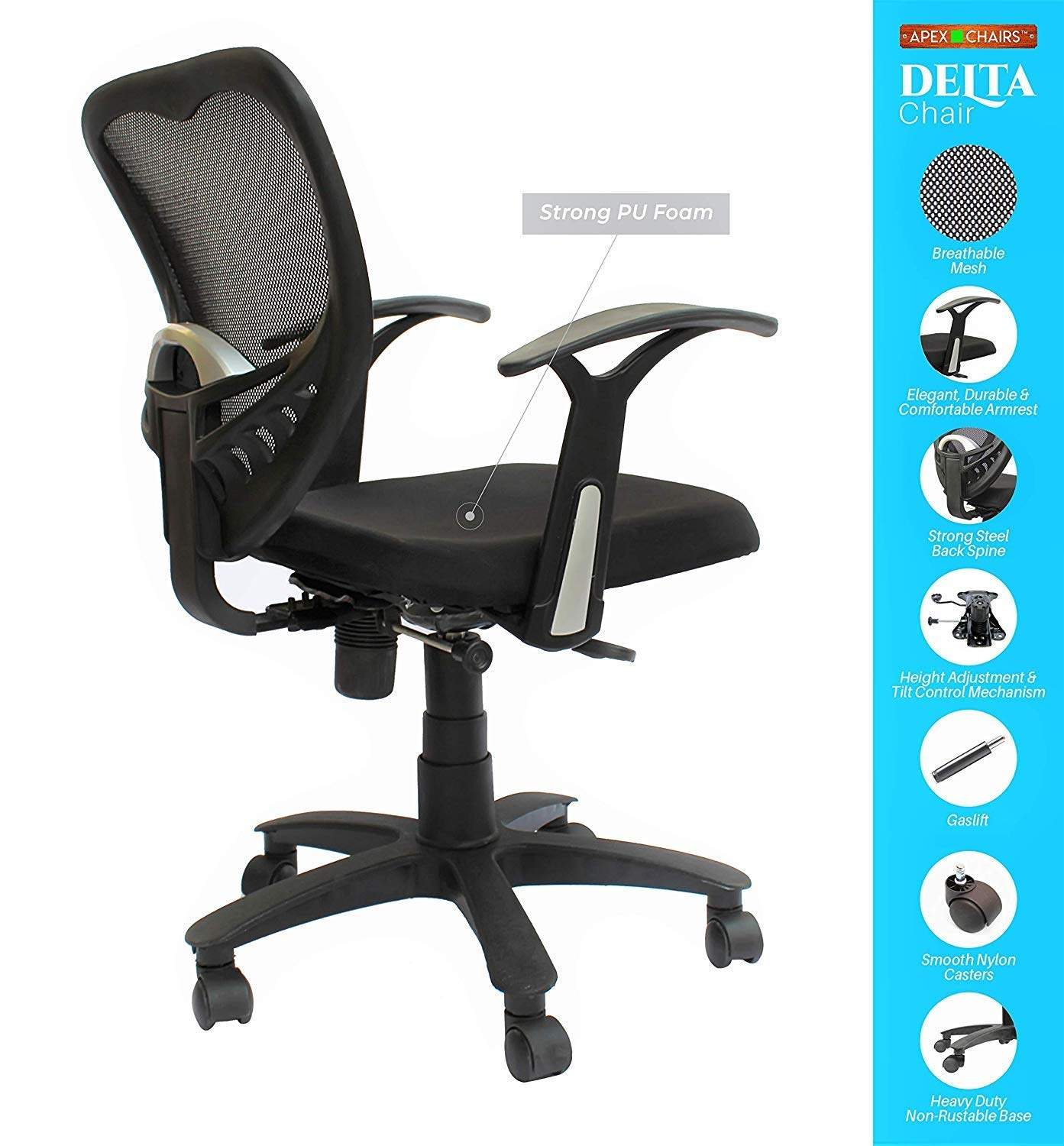 SAVYA HOME Apex Chairs Delta MB Umbrella Base Office Chair