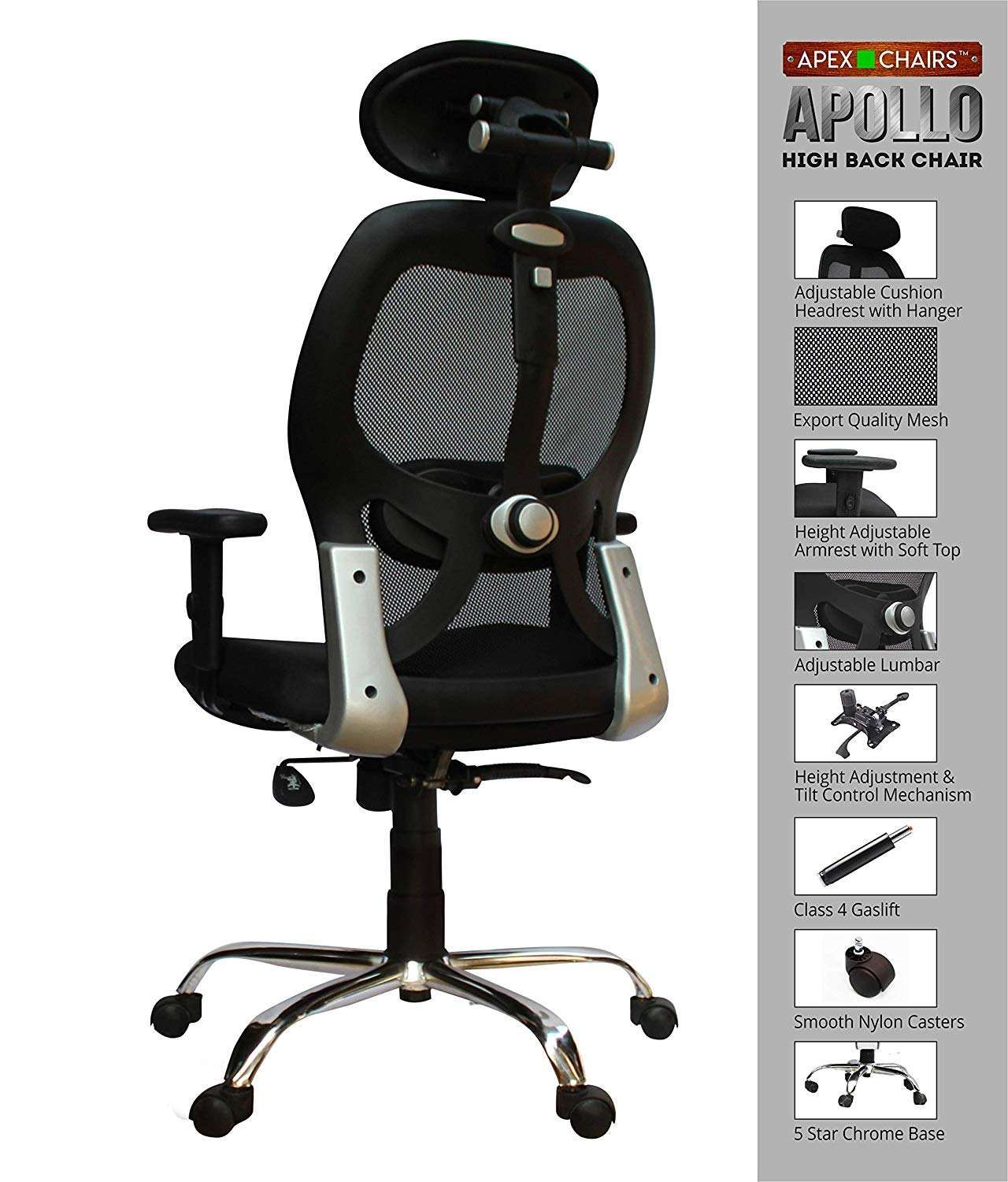 SAVYA HOME APEX Chairs Apollo Chrome Base High Back Office Chair Adjustable Arms